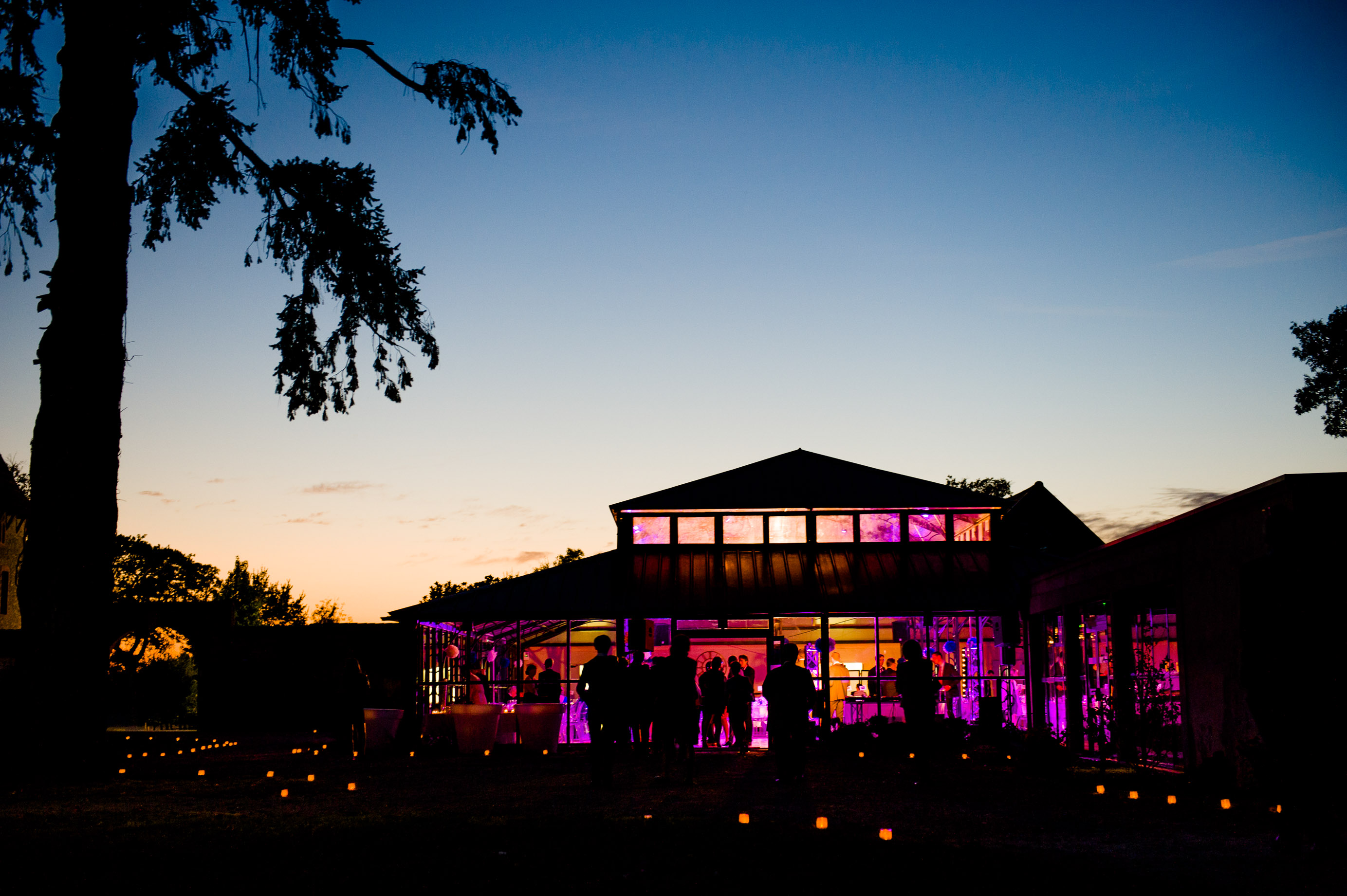 Exterior at night of Domaine des Lys Luxury Hotel in the Pays de la Loire in Ancenis