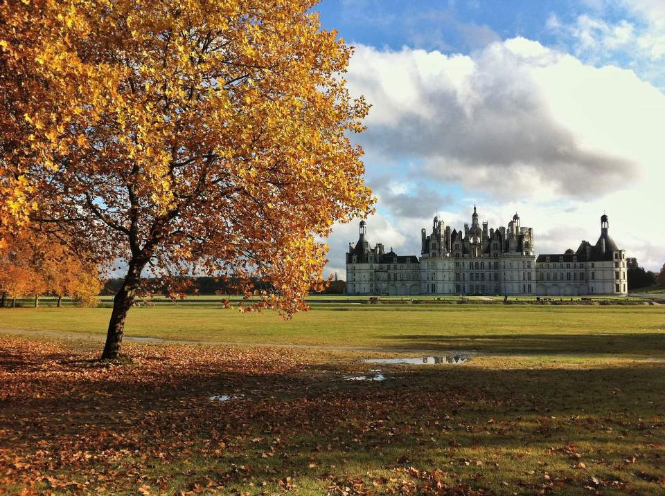 Exterior of the Château in Autumn at Domaine des Lys Luxury Hotel in the Pays de la Loire in Ancenis